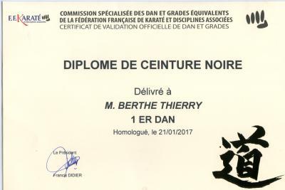 Diplome 1ere dan ffkda